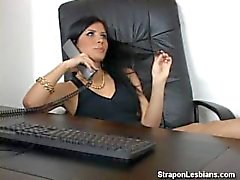 blonde ass fucked with strapon by brunette