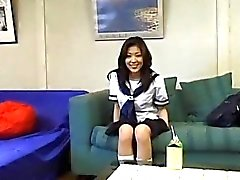 Azusa Miyanaga in school uniform sucks hard penis