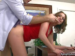 Tight ass secretary gets shagged from behind by Levi