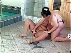 Two German Lesbian BBW getting it on by a indoor pool