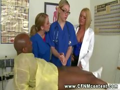 Horny nurses tugging dick for this lucky black guy