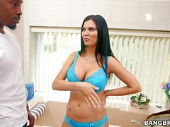 Latina maid Jasmine Jae with big hooters gets naked