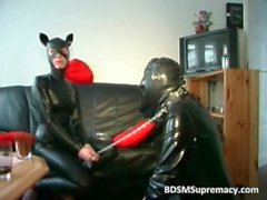 Dude in latex pants gets ass pounded