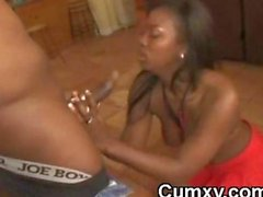 Alluring Hot Ebony Beauty Sucking BBC
