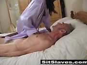 Lucky old english bloke having a sweet ebony pussy sitting right on his face