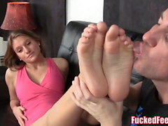 Cute Teen Jessica Gives First Footjob for Fucked Feet!
