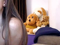 Brunette teen masturbation orgasm show with toys on webcam