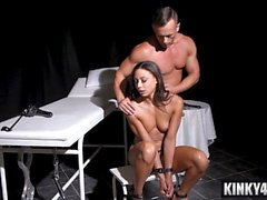 French submissive spanking with cum on tits