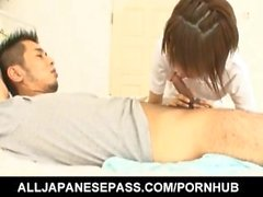 Miriya Hazuki arousing Japanese nurse enjoys her patients hard cock in