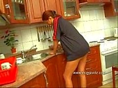 Daddy and his redhead in the kitchen