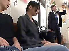 Hana Haruna sucks and rides dicks in bus