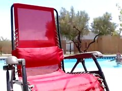 anna belle peaks super hot by the pool, awesome feet