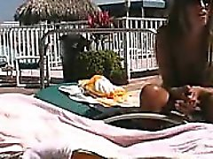 Horny Couple Fucking Outside By The Pool