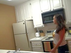 Dark haired Liza teases Manuel in kitchen