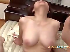 Busty mature woman sucking a guy getting her shaved pussy fucked