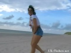 Exhibitionist beach babe flashing by the sea and public nudity of english