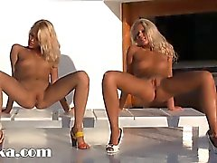 Two blond angels in high heels