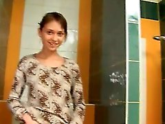 Amazingly bony cute girl on toilet