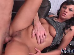 Kinky secretary rides her boss big shaft
