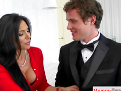 Bigtitted stepmom cockriding in taboo threesome