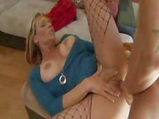 Busty blonde Debi Diamond blows deep and then gets fucked deep