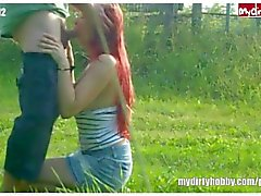 Chubby german redhead blowjob and banged outdoor
