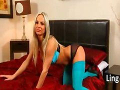 hot blond with blue socks