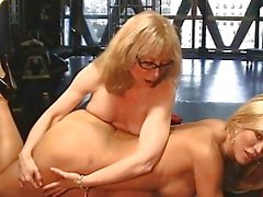 Whores Amber Lynn & Nina Hartley spank each other