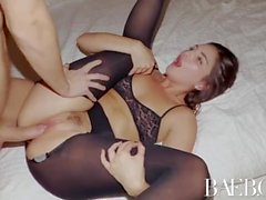 BAEB Hotel fuck and facial with fishnet brunette babe Pepper XO