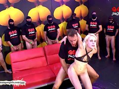 Skinny blondie drinks cum from a plastic tube - German Goo Girls