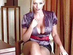 Busty blonde secretary teasing your dick and wanking with toy