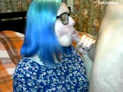 teen with glasses get a massive facial live on webcam