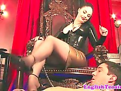 Mistress dominates with her feet