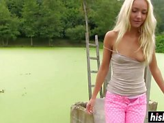 Awesome lesbian chicks masturbate together outdoors