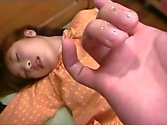 Pussy fingered Japanese delicate teen giving her first blowjob