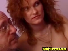 Retro redhead pussypounded before cumshot