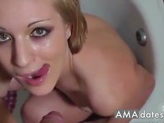 Pissing on a cute girl then CIM and she swallows