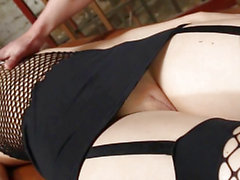 Fishnet stockinged muff acquires fur pie rammed