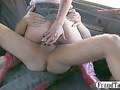 Taxi driver fucks his ex lover anal in the backseat of his cab