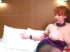 Redhead In Lingerie Masturbating And Vibrates Her Pussy On The Bed