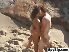 Spying On Couple Fucking At The Beach