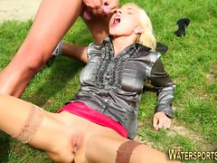 Clothed whore pissed over