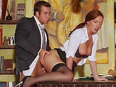 A chance to couch his lewd secretary.threatening Dressed sex threatening-fearsome HD Porn