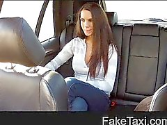 FakeTaxi Hot brunette with swinging tits