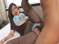 Elegant Asian lady in pantyhose has a raging stick plowing