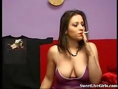 smoking brunette fucking her pussy with a red dildo(1)