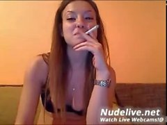 Very Hot Webcam Model Smokes While Masturbating on Live WEbcam