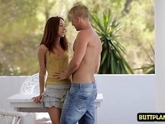 Small tits pornstar outdoor with cumshot