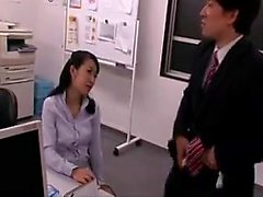Lustful Japanese secretary sucks a dick and gets her snatch