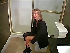 Busty Milf in Hot Blowjob in Toilet